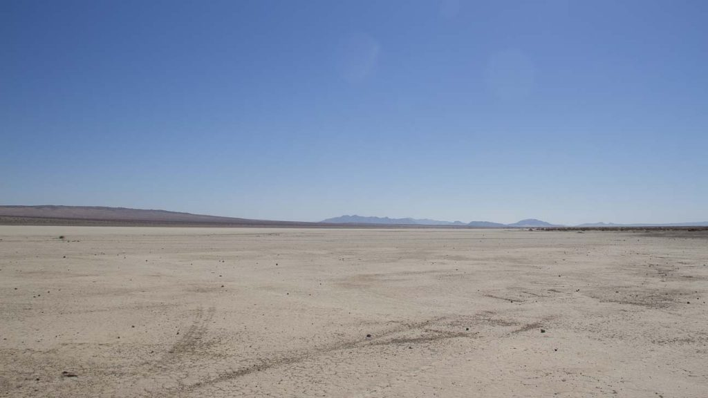 One of the many dry lakes out in the Mojave Desert. Independent Filmmaking in action.