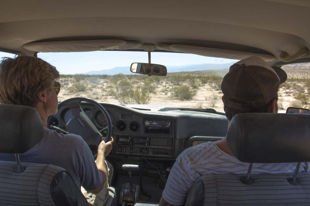 My view from the middle seat of the Landcruiser as we roamed the desert. Independent Filmmaking in Action.